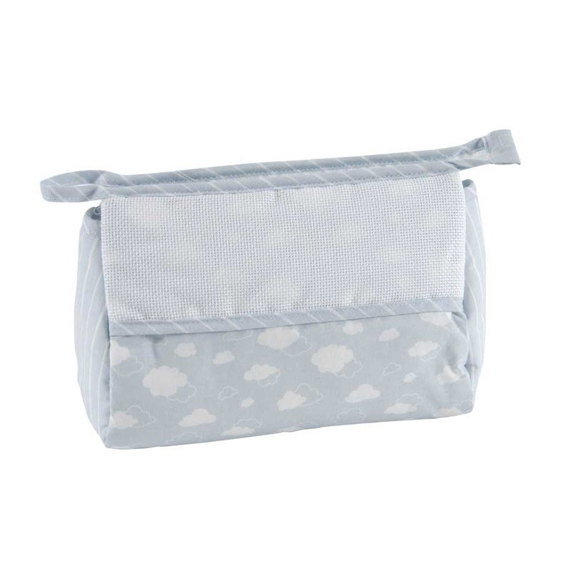 trousse de toilette dmc gar on nuage bleu broder