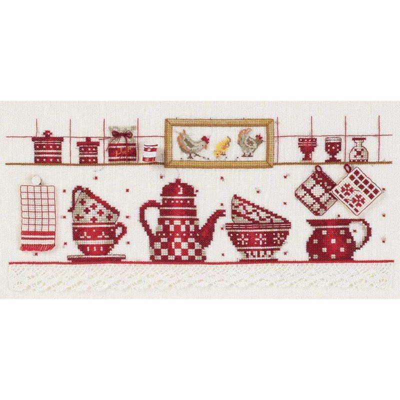 Broder en point de croix la vaisselle rouge chez dmc for Tableau cuisine rouge