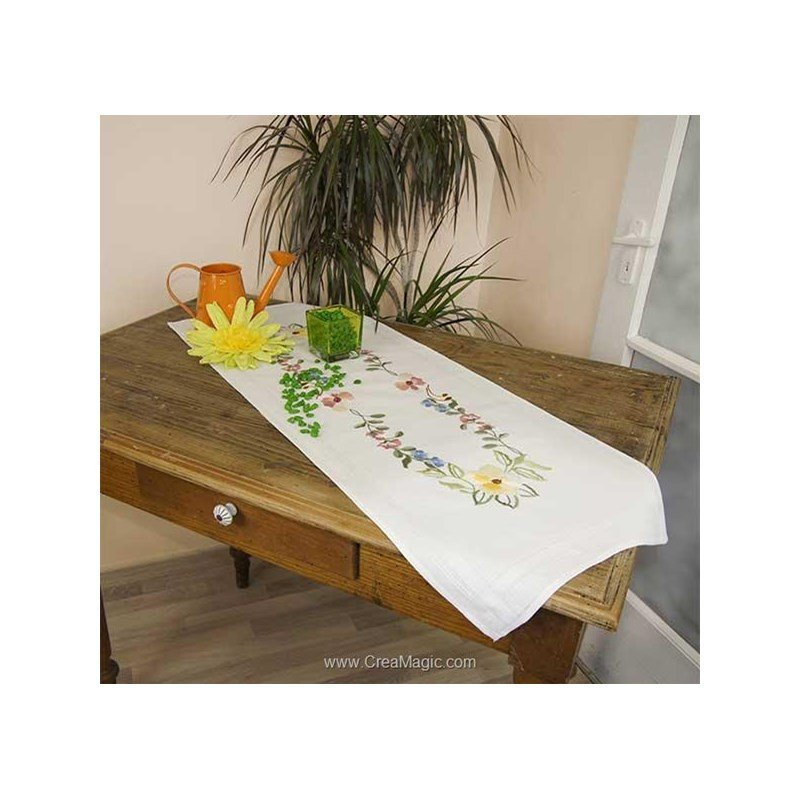 Chemin de table imprim en broderie traditionnelle merra - Chemin de table boutis ...