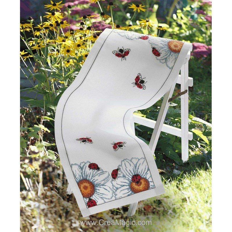 kit chemin de table anchor coccinelles et marguerittes broder. Black Bedroom Furniture Sets. Home Design Ideas