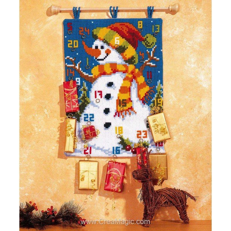 Vervaco kit complet tapis point de croix calendrier de l - Calendrier de l avent en bonhomme de neige ...