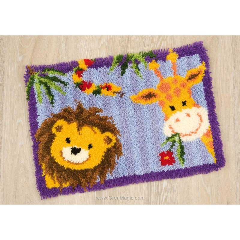 Tapis point nou animaux de la jungle vervaco - Tapis animaux de la jungle ...