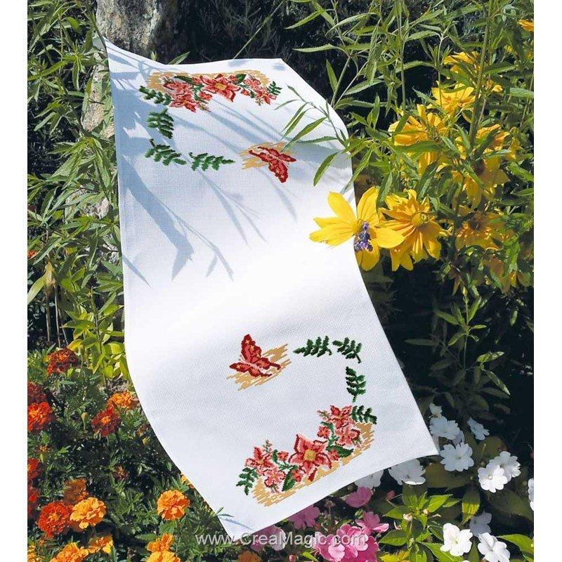 kit chemin de table ourl papillon floral broder de luc cr ation ct 04. Black Bedroom Furniture Sets. Home Design Ideas