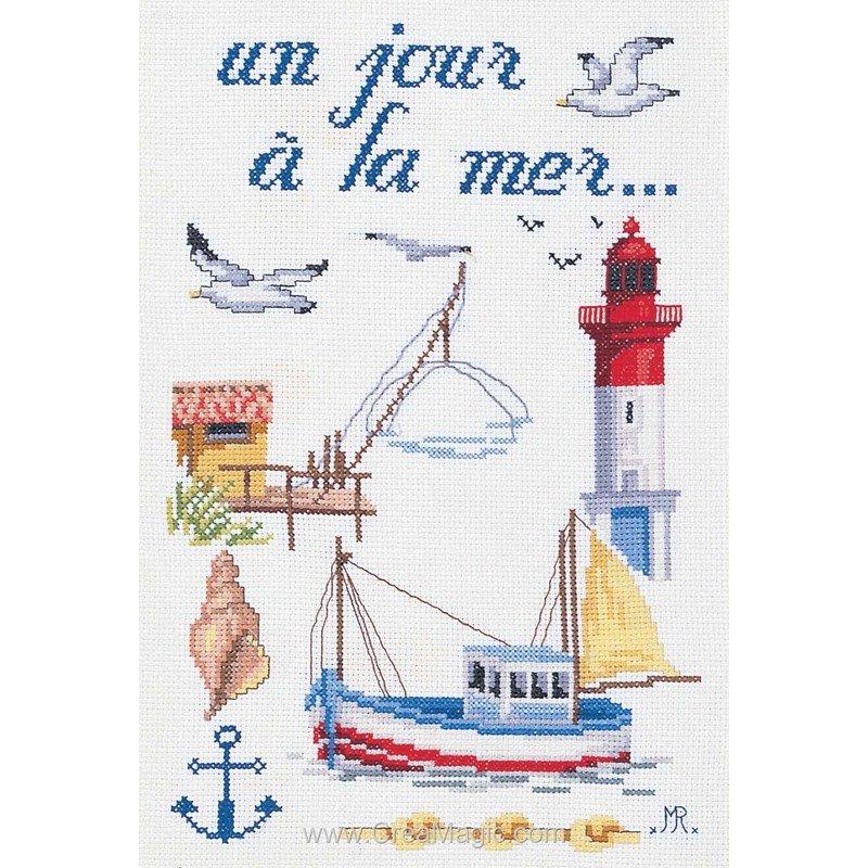Broderie un jour la mer jm 1979 4270 de marie coeur - Grille point de croix mer ...