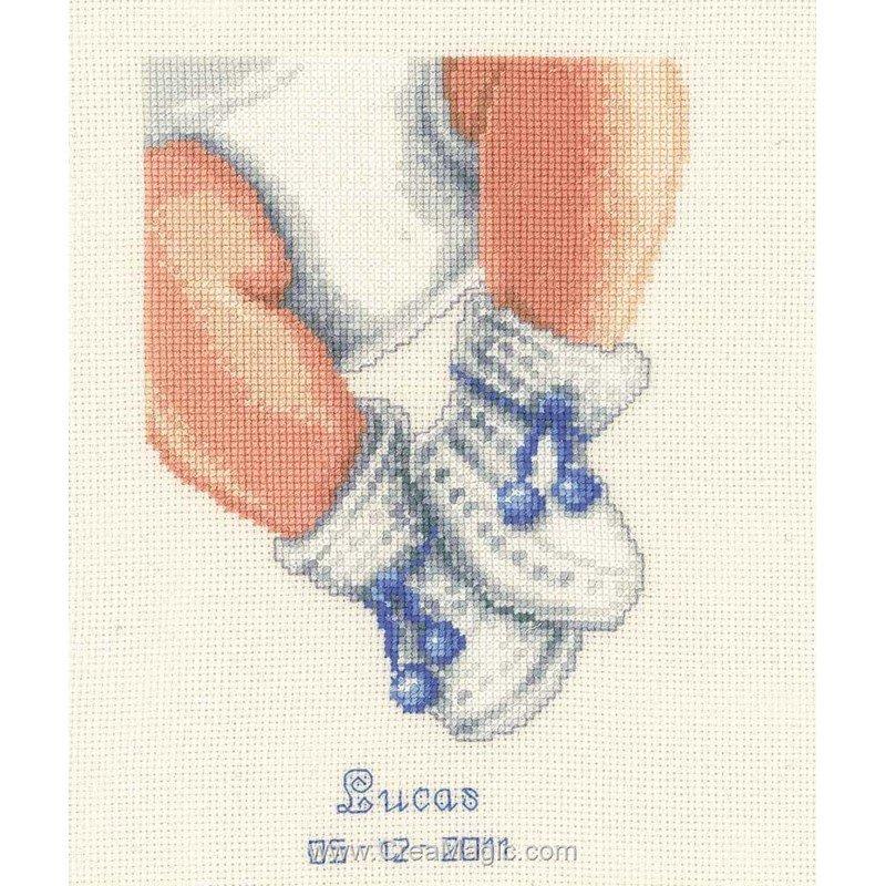 Tableau pr nom b b broder vervaco les petits chaussons - Tableau fille ou garcon ...