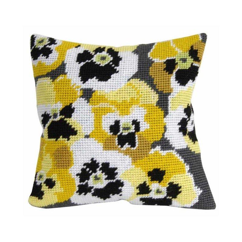 coussin au demi point dmc pens es jaunes. Black Bedroom Furniture Sets. Home Design Ideas
