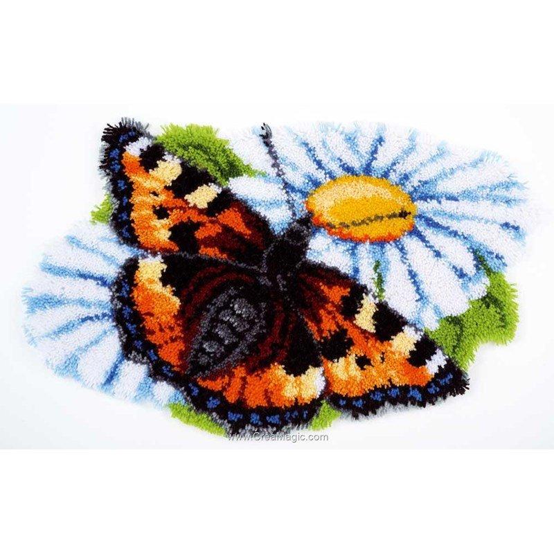 tapis point nouu00e9 tapis point noue vervaco papillon sur la marguerite ...