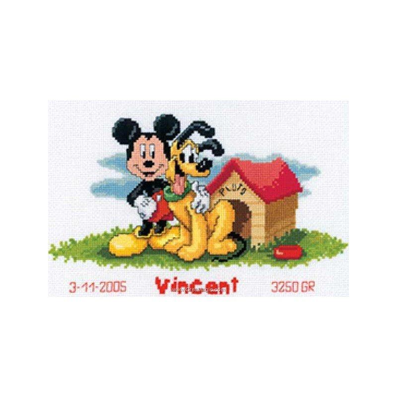 Kit broderie naissance mickey et plutot chez vervaco - Mickey et plutot ...