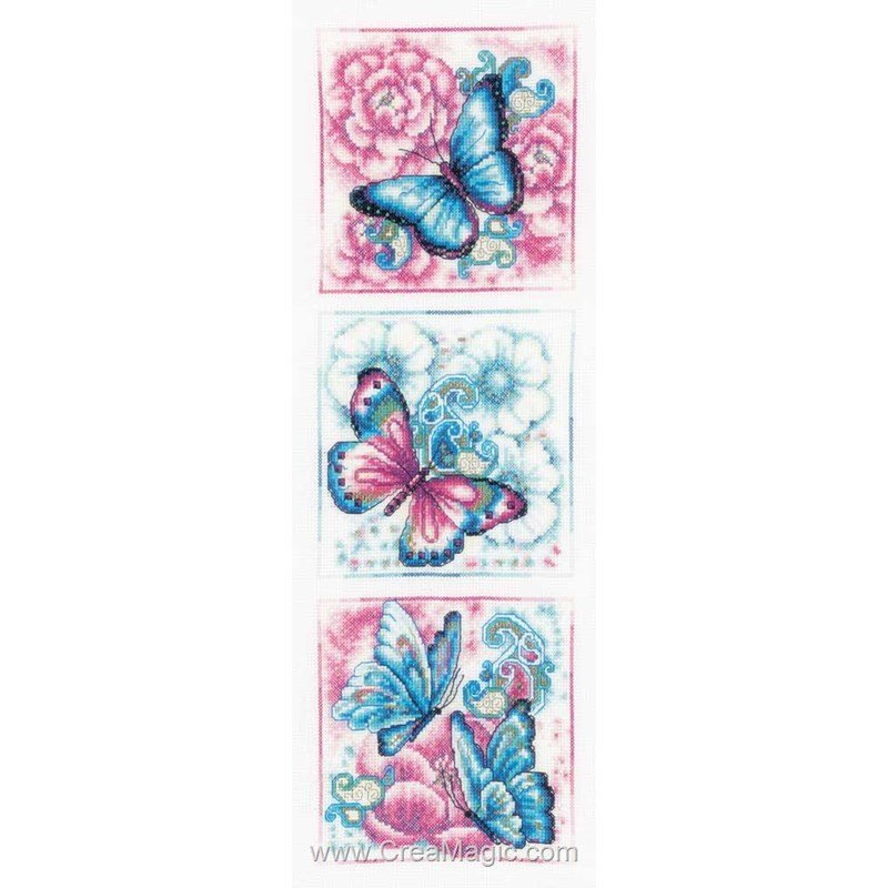 Broderie tryptique de papillons bleus chez Vervaco