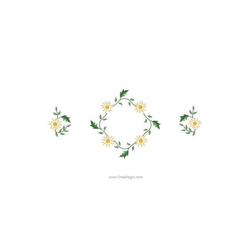 Kit napperon à broder fleurs du soleil en broderie traditionnelle imprimée  , Luc Création