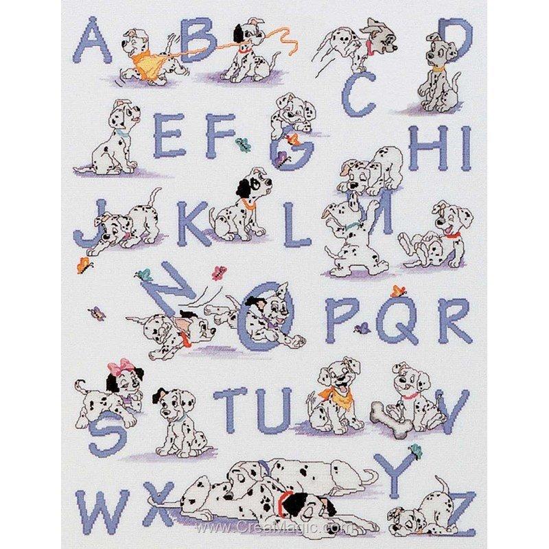 Ab c daire disney des 101 dalmatiens de royal paris 6443 0007 - Grille point de croix alphabet disney ...