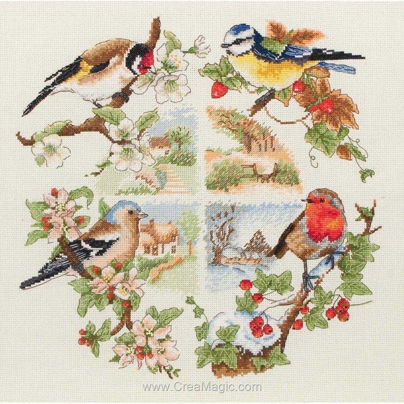 Broderie en point croix Anchor oiseaux et saisons PCE880