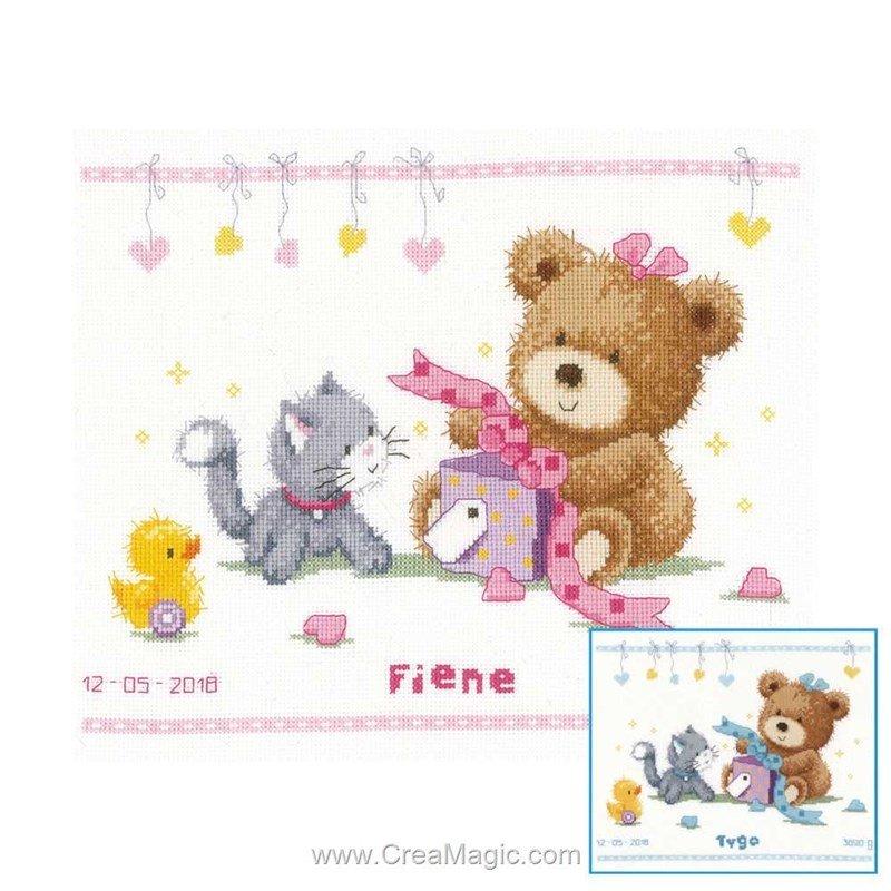 Kit broderie baby naissance ourson et son cadeau fille ou garçon - Vervaco