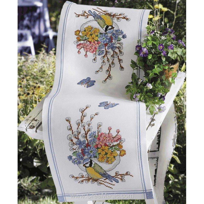 Kit chemin de table mésange et fleurs à broder - Anchor ...