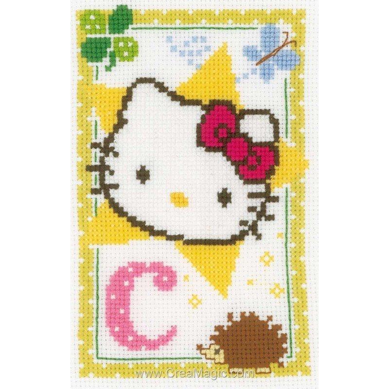 Kit point croix hello kitty lettre c chez vervaco - Modele hello kitty ...
