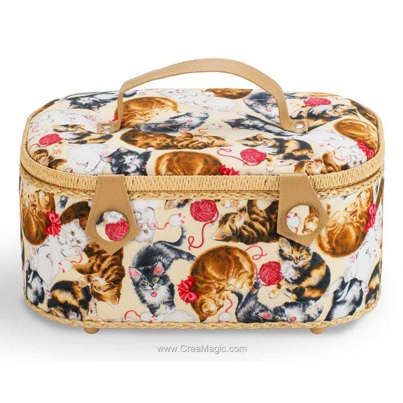 Boite couture tissu chat les joueur avec poign es en for Boite a couture en cuir