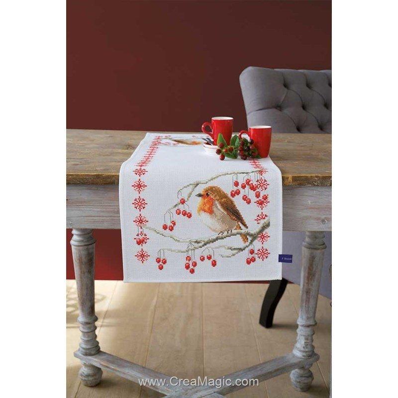 kit chemin de table rouge gorge et fleurs broder de vervaco. Black Bedroom Furniture Sets. Home Design Ideas