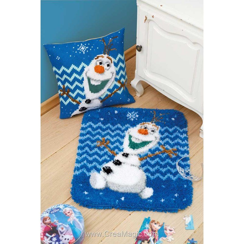 kit tapis point noue olaf reine des neiges disney chez vervaco. Black Bedroom Furniture Sets. Home Design Ideas