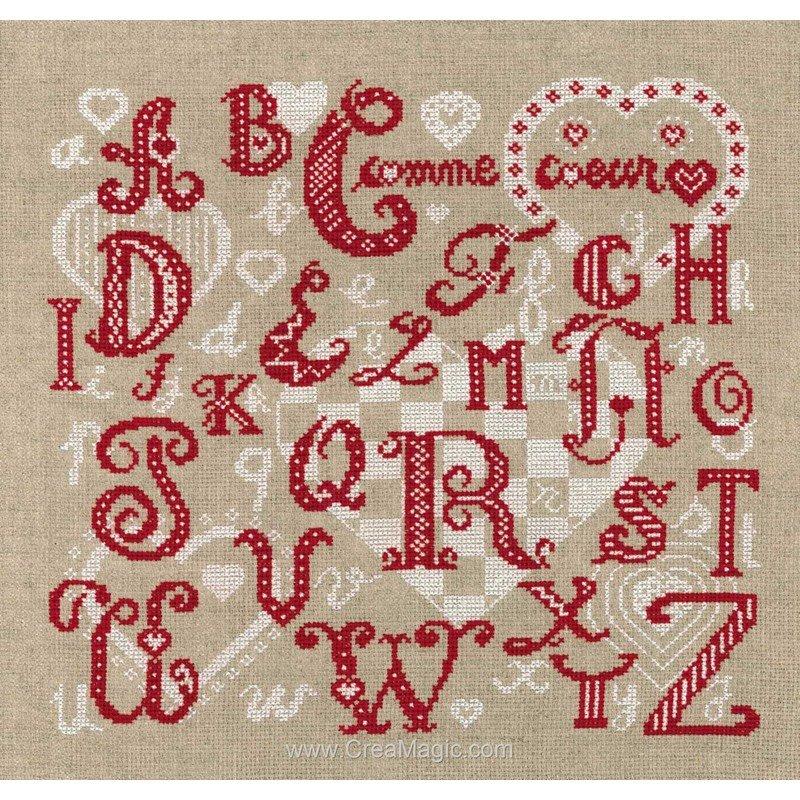 Marie Coeur point de croix abc lettres anciennes rouge