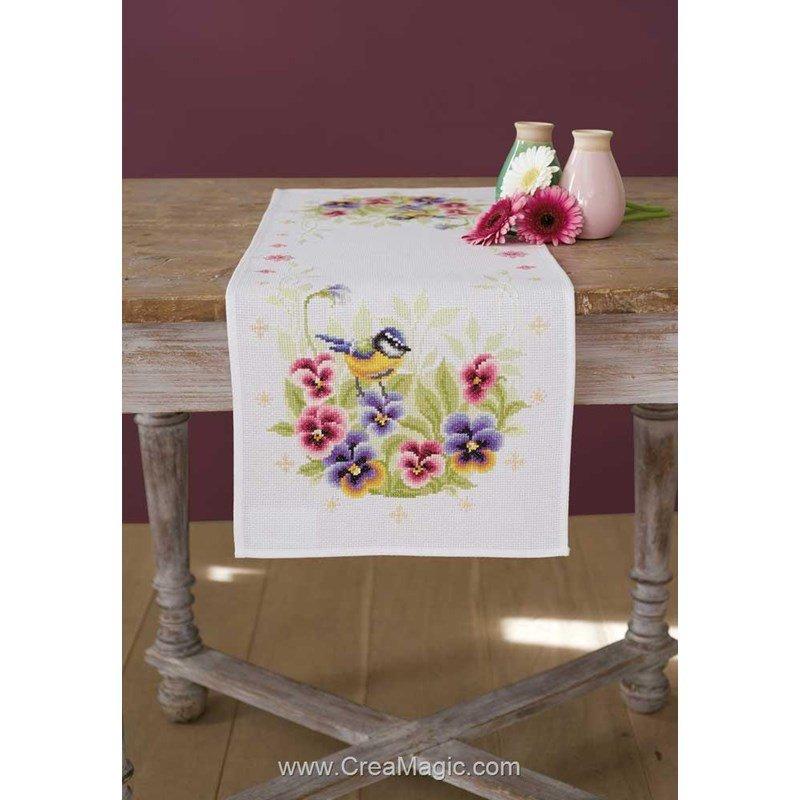kit chemin de table oiseau et violette broder vervaco pn 0158401. Black Bedroom Furniture Sets. Home Design Ideas