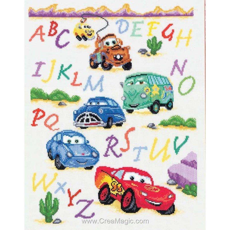 Ab c daire cars et ses amis disney 2575 70995 vervaco - Grille point de croix alphabet disney ...