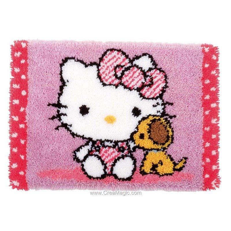 Tapis Point Noue Hello Kitty Avec Un Chien Chez Vervaco