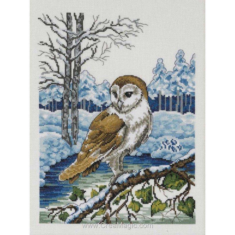Permin kit à broder point de croix barn owl sur toile lin