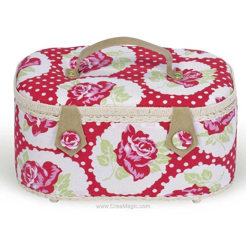 Boite couture tissu avec poign es cuir jolies roses for Boites a coutures