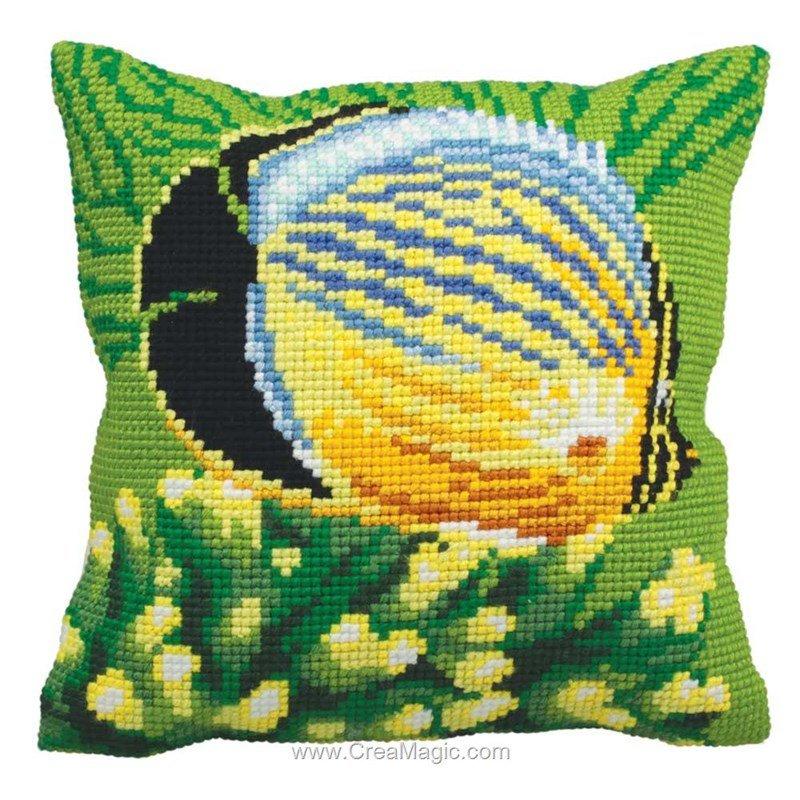 coussin poisson exotique gauche au point de croix chez collection d 39 art. Black Bedroom Furniture Sets. Home Design Ideas