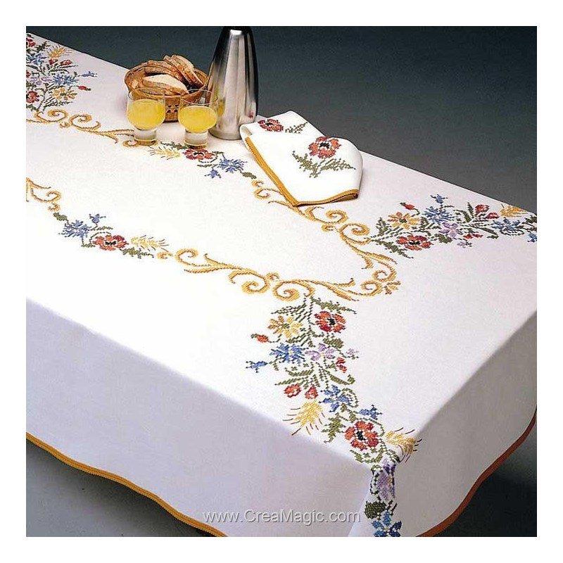 Serviette de table cascade au point de croix imprimé - Margot Broderie