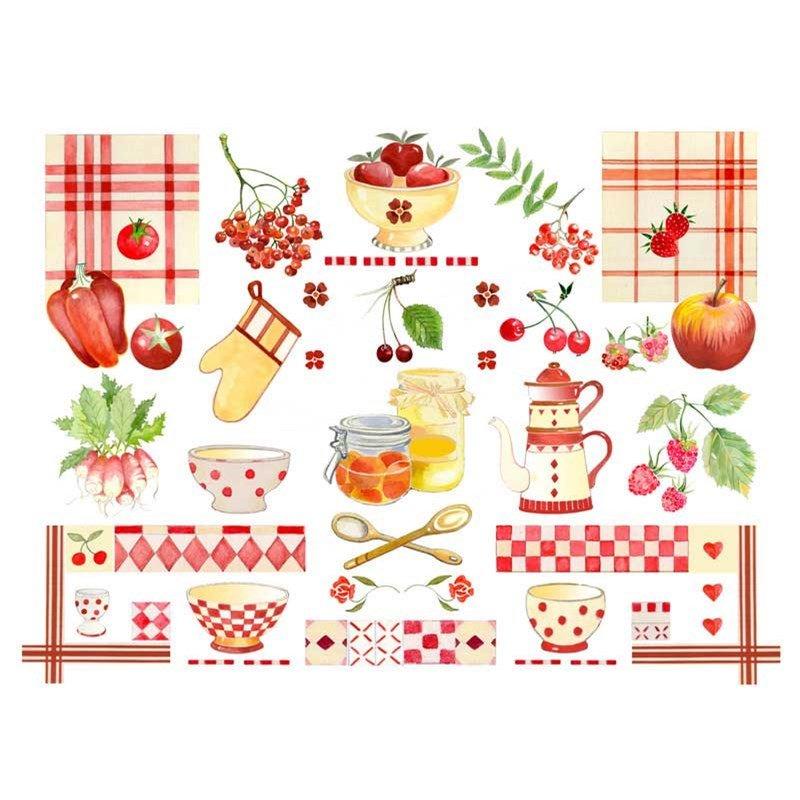 Broderie la cuisine rouge et jaune bk766 chez dmc - Point de croix cuisine ...