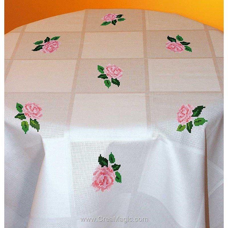 kit nappe de roses damass 233 e 224 broder aux 4 points du monde