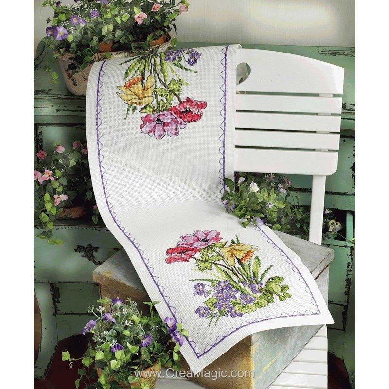 kit chemin de table la genouille dans les fleurs broder anchor 9240000 02106. Black Bedroom Furniture Sets. Home Design Ideas