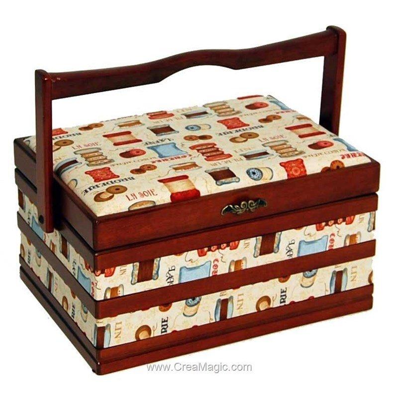 Boite couture bois et tissu couture prestige wb215 de s w for Boite a couture en bois