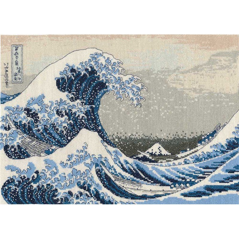 Point de croix broder dmc katsushika hokusai la grande vague - Grille point de croix mer ...