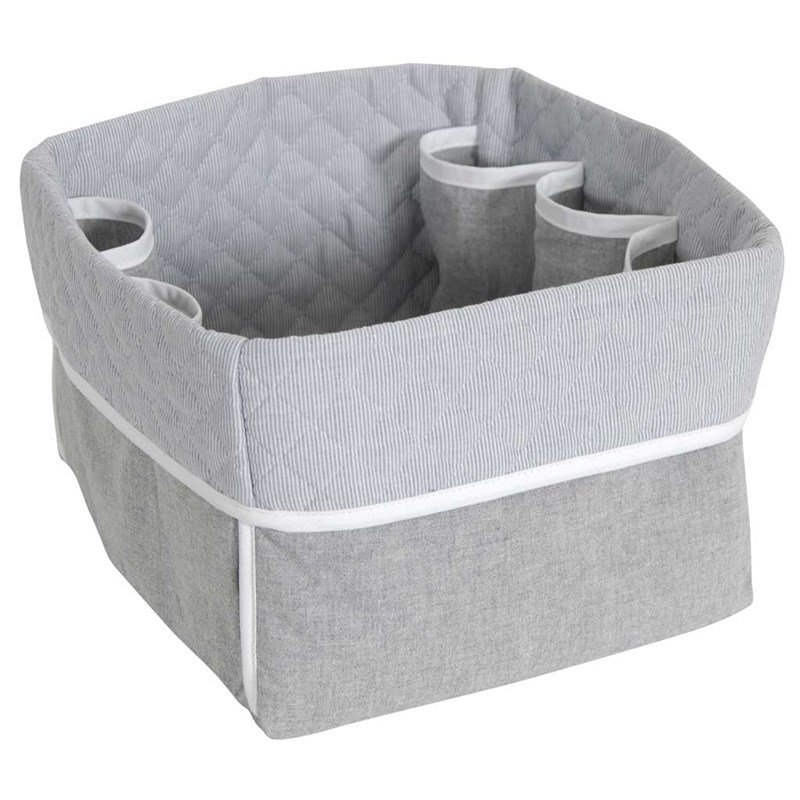 panier de rangement b b dmc broder chambray gris. Black Bedroom Furniture Sets. Home Design Ideas
