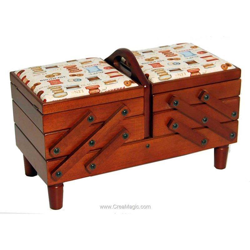 Travailleuse en bois et tissu couture prestige wb214 s w for Boite travailleuse