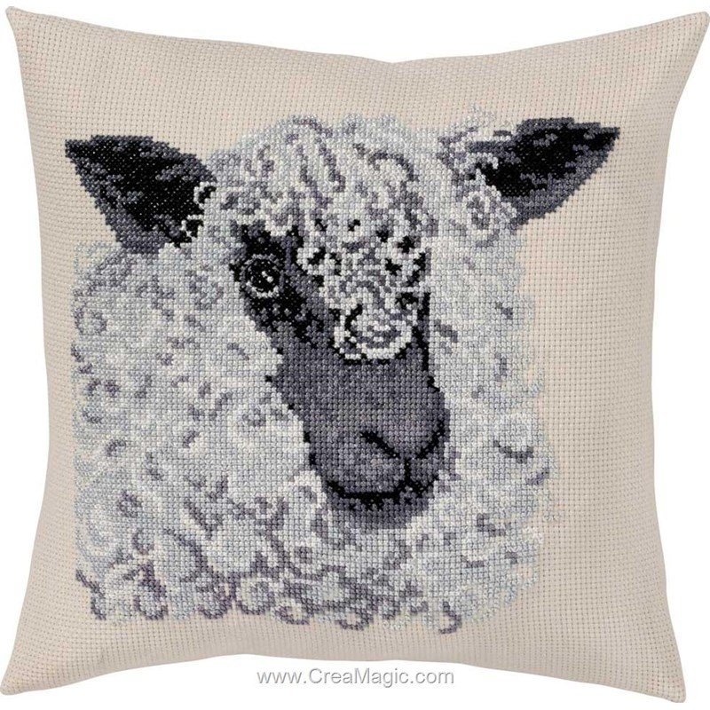 Kit Coussin Broder Au Point Compte Grey Sheep Permin