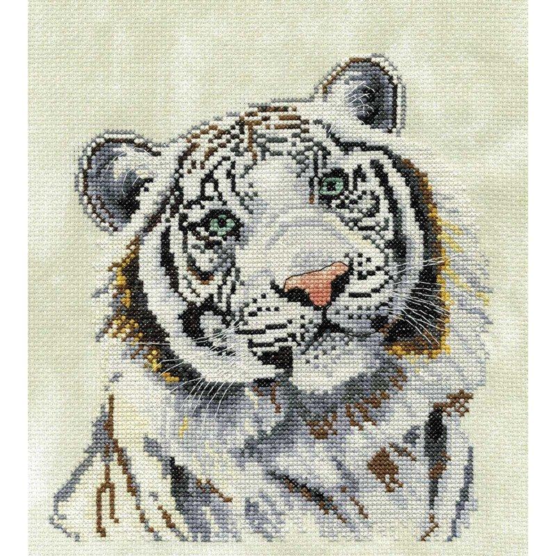 Kit broder au point de croix dmc le tigre blanc - Apprendre le point de croix ...