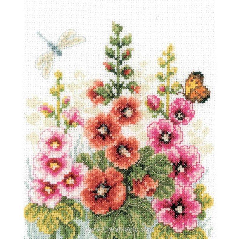 Broderie au point compté Vervaco trio de roses trémières