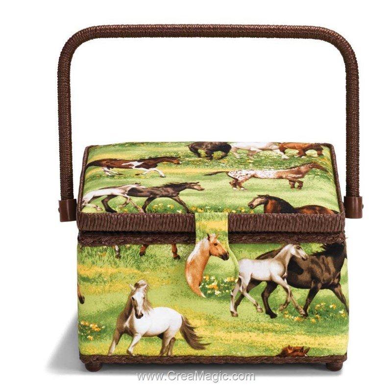 Boite couture chevaux dans la prairie prym for Boite couture prym