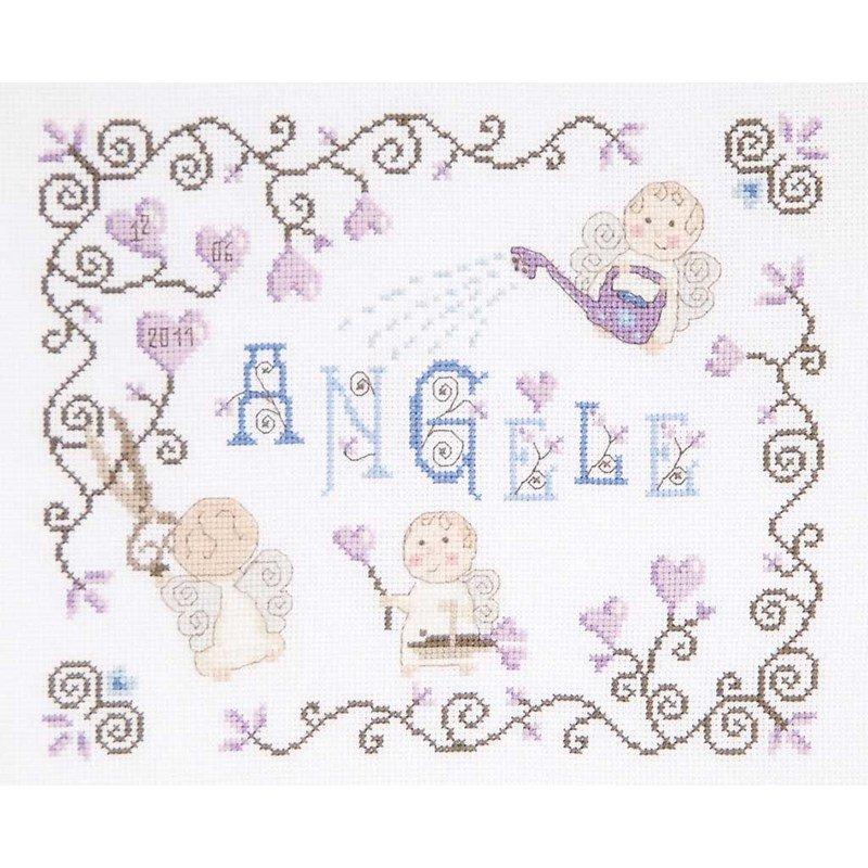 Broderie tableaux prénom DMC petit ange