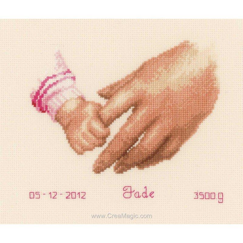 Broderie baby par la main fille ou gar on pn 0145023 de vervaco - Bebe fille ou garcon ...
