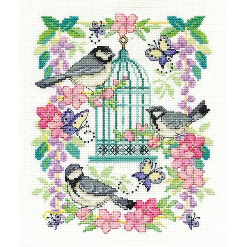 Broderie point de croix cage aux oiseaux de DMC BK1563