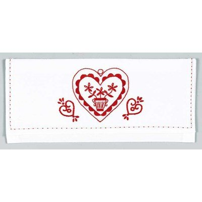 Poche serviette cœur rouge - DMC