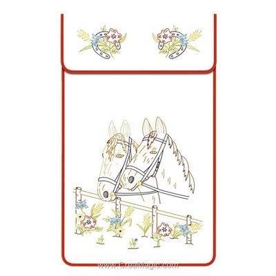 Cache torchon Deux cheveux sur toile coton ecru à broder en broderie traditionnelle - Luc Création