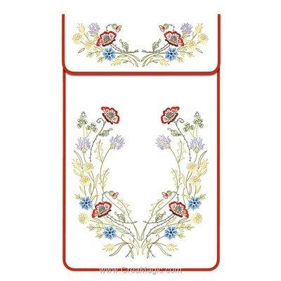 Cache torchon Fleurs des champs sur toile coton blanc à broder en broderie traditionnelle - Luc Création