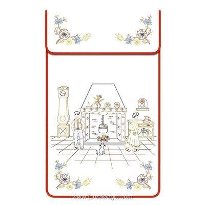 Cache torchon Intérieur sur toile coton blanc à broder en broderie traditionnelle - Luc Création