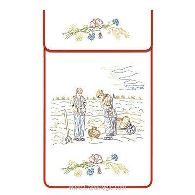 Cache torchon L'angélus sur toile coton blanc à broder en broderie traditionnelle - Luc Création