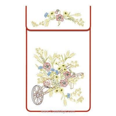 Cache torchon La brouette fleurie sur toile coton ecru à broder en broderie traditionnelle - Luc Création